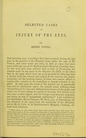 view Selected cases of injury of the eyes / Henry Power.