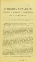 view Ophthalmia neonatorum : especially in reference to its prevention / by W. G. Sym.