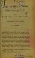 view Essai d'une explication génétique des mouvements oculaires / par F. C. Donders.