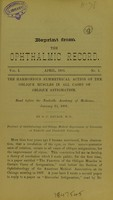 view The harmonius symmetrical action of the oblique muscles in all cases of oblique astigmatism : read before the Nashville Academy of Medicine, January 15, 1891 / by G. C. Savage.