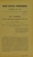 view De l'asepsie dans les opérations pratiquées sur les yeux / par J.-P. Nuel.