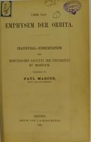view Über das Emphysem der Orbiter : inaugural-Dissertation der medicinischen Facultät der Universität zu Rostock / vorgelegt von Paul Marcus.