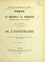 view De l'exophthalmie : thèse pour le doctorat en médecine / par Octave Bouyer.