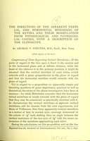 view The directions of the apparent vertical and horizontal meridians of the retina and their modification from physiological and pathological causes : with a description of the clinoscope / by George T. Stevens.