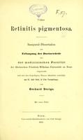 view Ueber retinitis pigmentosa : inaugural-Dissertation zur Erlangung der Doctorwürde bei der medicinischen Facultät der Rheinischen Friedrich-Wilhelms-Universität zu Bonn / von Gerhard Derigs.