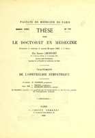 view Traitement de l'ophthalmie sympathique : thèse pour le doctorat en médecine / par Ernest Chuffart.