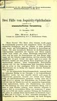 view Drei Fälle von Jequirity-Ophthalmie / von Hans Adler.
