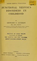 view Functional nervous disorders in childhood.
