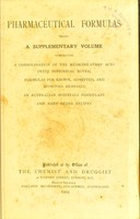 view Pharmaceutical formulas being a supplementary volume comprising a consolidation of the Medicine-stamp Acts (with historical notes), formulas for known, admitted, and approved remedies, an Australian hospitals formulary and many other recipes.