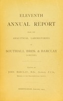 view Eleventh annual report from the analytical laboratories of Southall Bros. & Barclay (Limited).