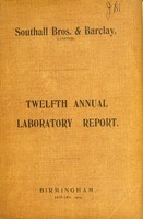 view Twelfth annual report from the analytical laboratories of Southall Bros. & Barclay (Limited).