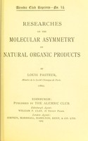 view Researches on the molecular asymmetry of natural organic products (1860).