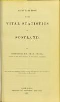 view Contribution to the vital statistics of Scotland