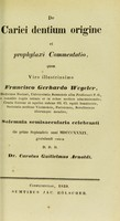 view De cariei dentium origine et prophylaxi commentatio / Carolus Guilielmus Arnoldi.
