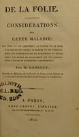 view De la folie : considérations sur cette maladie ... / par M. Georget.