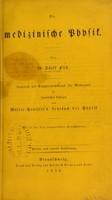 view Die medizinische physik / von A. Fick.