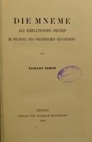 view Die Mneme : als erhaltendes Prinzip im Wechsel des organischen Geschehens / von Richard Semon.