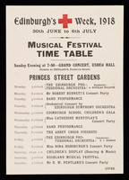 view Edinburgh's + week, 1918 : 30th June to 6th July : music festival time table / [City of Edinburgh branch of the British Red Cross Society].