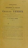 view Catalogue des instruments de précision pour la physiologie et la médecine construits par Charles Verdin.