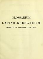 view Glossarium latino-germanicum mediae et infimae aetatis e codicibus manuscriptis et libris impressis