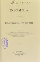 view Insomnia, and other disorders of sleep / by Henry M. Lyman.
