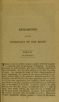 view Researches on the pathology of the brain. Part II. On Apoplexy / by John Abercrombie.