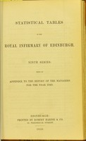 view Statistical tables of the Royal Infirmary of Edinburgh : Ninth series: Being an appendix to the report of the managers for the year 1849.