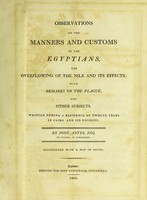 view Observations on the manners and customs of the Egyptians, the overflowing of the Nile and its effects