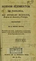 view Nuevos elementos de fisiología ... / Traducidos de la secunda edición ... Tomo I.