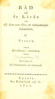 view Rad till de lärde och till dem som föra ett stillasittande lefnadssätt ... / Ofversättning [by Gustaf von Heidenstam].