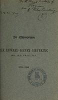 view In memoriam Sir Edward Henry Sieveking, M.D., Ll.D., F.R.C.P., F.S.A., 1816-1904.