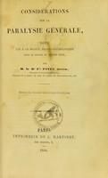 view Considérations sur la paralysie générale : note lue à la Société médico-psychologique dans la séance du 28 juin 1858 / par Cir. Pinel neveu.
