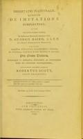 view Dissertatio inauguralis, quaedam de imitatione complectens ... / eruditorum examini subjicit Robertus Scott.