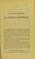 view Étiologie et prophylaxie des épidémies puerpérales : mémoire lu à la Société des hôpitaux, le 23 août 1865 / par E. Hervieux.