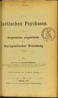 view Die luëtischen Psychosen in diagnosticher, prognostischer und therapeutischer Beziehung