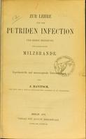 view Zur Lehre von der putriden Infection und deren Beziehung zum sogenannten Milzbrande : experimentelle und microscopische Untersuchungen / von J. Ravitsch.