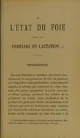 view De l'état du foie chez les femelles en lactation / par L. de Sinéty.