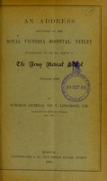 view An address delivered at the Royal Victoria Hospital, Netley introductory to the 53rd session of the Army Medical School, October 1886 / by Sir T. Longmore.