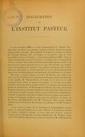 view Inauguration de l'Institut Pasteur le 14 novembre 1888 en présence de M. le Président de la République : compte rendu.