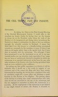 view The cell theory, past and present : being the inaugural address delivered November 1, 1889 to the Scottish Microscopical Society / by Sir William Turner.