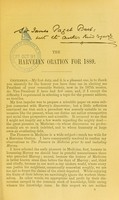 view The Harveian oration for 1889 : delivered 12th April, at the Royal College of Physicians of Edinburgh