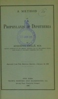 view A method of prophylaxis in diphtheria / by Augustus Caillé.