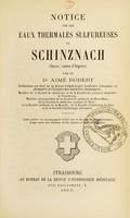 view Notice sur les eaux thermales sulfureuses de Schinznach (Suisse, canton d'Argovie)