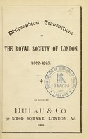 view Philosophical transactions of the Royal Society of London, 1800-1895, on sale by Dulau & Co.