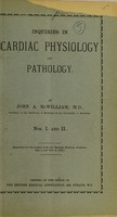 view Inquiries in cardiac physiology and pathology