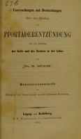 view Untersuchungen und Beobachtungen über den Einfluss der Pfortaderentzündung auf die Bildung der Galle und des Zuckers in der Leber / von S. Moos.