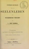 view Untersuchungen über das Seelenleben des neugeborenen Menschen / von Adolf Kussmaul.