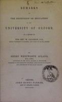view Remarks on the extension of education at the University of Oxford : in a letter to the Rev. W. Jacobson, D.D. ...