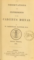 view Observations and experiments on the Carcinus moenas