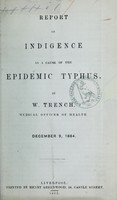 view Report on indigence as a cause of the epidemic typhus